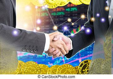 doppelte belichtung, geschäftsmenschen, handgeben, mit, bitcoin, über, elektronisch, geld, auf, digital, bestand, hintergrund.