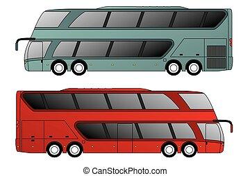 doppelter decker, achse, bus, front, rückseite