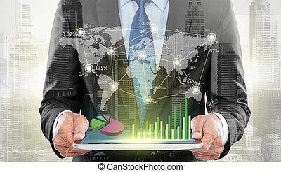 doppia esposizione, di, città, e, uomo affari, usando, tavoletta digitale