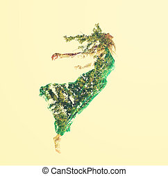 doppia esposizione, di, donna, volare, con, foglie