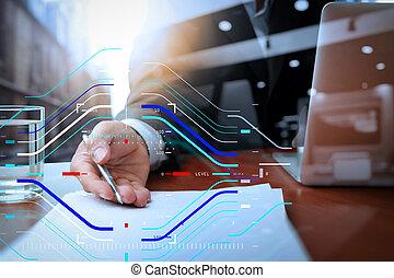 doppia esposizione, di, uomo affari, o, commesso, consegnare, uno, contratto, su, scrivania legno