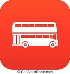 doppio, autobus, decker, digitale, rosso, icona