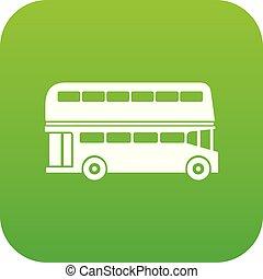 doppio, autobus, decker, verde, digitale, icona