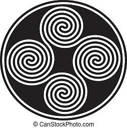 doppio, celtico, collegato, spirali