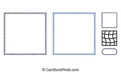 doppio, cerchi, quadrato, cornice, mosaico, icona
