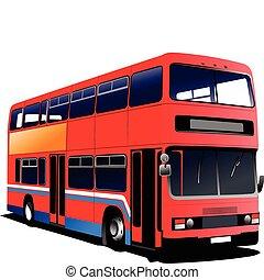 doppio, malato, decker, vettore, bus., rosso