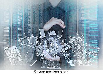 doppio, moderno, concep, uomo affari, mostra, tecnologia, esposizione