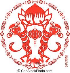doppio, scimmia, illustrazione, anno