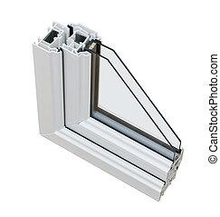 doppio, sezione, fornendo vetri, croce, upvc