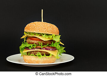 doppio, sfondo nero, hamburger