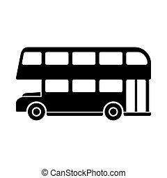doppio, silhouette., decker, vettore, londra, autobus