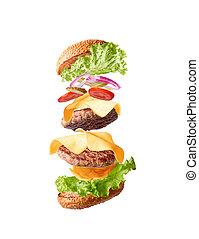 doppio, volare, isolare, cheeseburger, fondo., parti, bianco