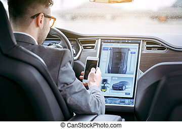doprava, eco, vůz, moderní, osoba, technika