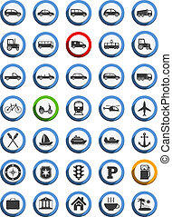 doprava, lodní, a, pohyb ikona