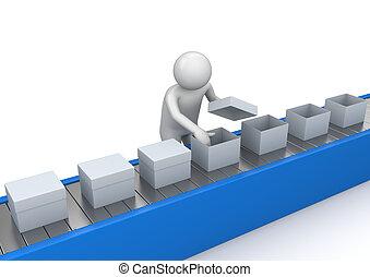 dopravník, quality control, -, dělníci, vybírání