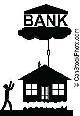 doprowadzenia, bank, dom