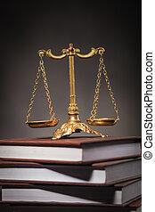 doré, échelle, concept, livres, tas, apprentissage, droit & loi