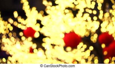 doré, éclairage, arbre, nouvel an