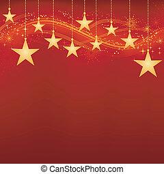 doré, éléments, grunge, étoiles, fond, pendre, rouges