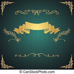 doré, éléments, vendange, main, vecteur, sketched, carte