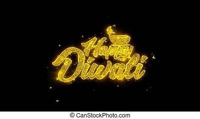doré, étincelles, diwali, feux artifice, typographie, ...