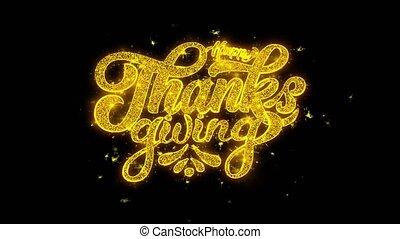 doré, étincelles, feux artifice, thanksgiving, typographie, particules, écrit, heureux