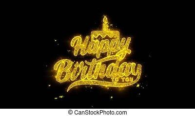 doré, étincelles, feux artifice, typographie, particules, écrit, anniversaire, vous, heureux