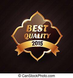 doré, étiquette, vecteur, conception, 2015, qualité, mieux