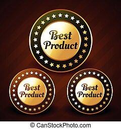 doré, étiquette, vecteur, conception, prduct, mieux