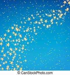 doré, étoile, écoulement, sur, nuit, hiver, fond