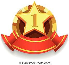 doré, étoile, étiquette, conception, ruban, rouges