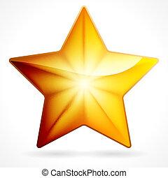 doré, étoile, 10, eps, fond, blanc, icône