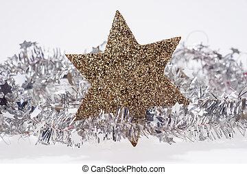 doré, étoile, clinquant, guirlande, décoration, noël