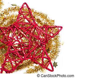 doré, étoile, clinquant, rouges, noël