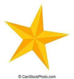 doré, étoile, coloré, point, 5, dessin animé