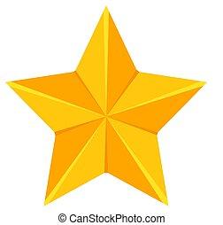 doré, étoile, dessin animé, coloré