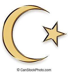doré, étoile, emblème, croissant, islamique