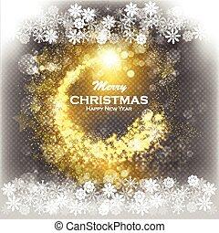 doré, étoile, flocons neige, or, brun, résumé, -, snow., piste, clair, fond, sombre, tomber, tir, noël, scintillement
