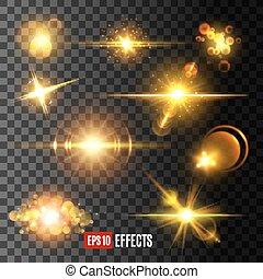 doré, étoile, icônes, lumière, éclat, vecteur, eclats