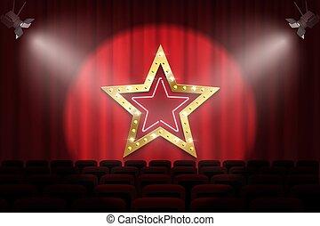 doré, étoile, illustration., théâtre, ampoules, lumière, néon, contre, lumières tache, vecteur, arrière-plan., sous, rideau, signe, brillant, rouges, étape