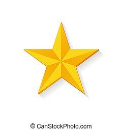 doré, étoile, isolé, illustration, vecteur, conception, 3d