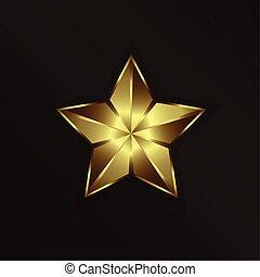 doré, étoile, logo