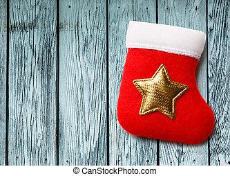 doré, étoile, noël, rouges, bas