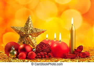 doré, étoile, noël, rouges, bougies