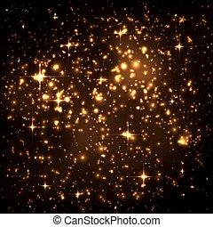 doré, étoile, résumé, ciel, particules, groupe, incandescent, nuit