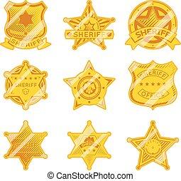 doré, étoile, shérif, insignes