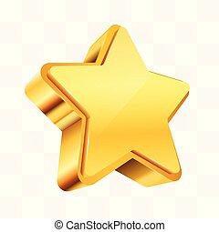 doré, étoile, signe., isolé, récompense, transparent, arrière-plan., noël, ou