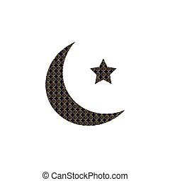 doré, étoile, symbole, musulman, islamique, croissant, logo, arabe