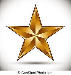 doré, étoile, vector.
