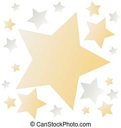 doré, étoiles, fond